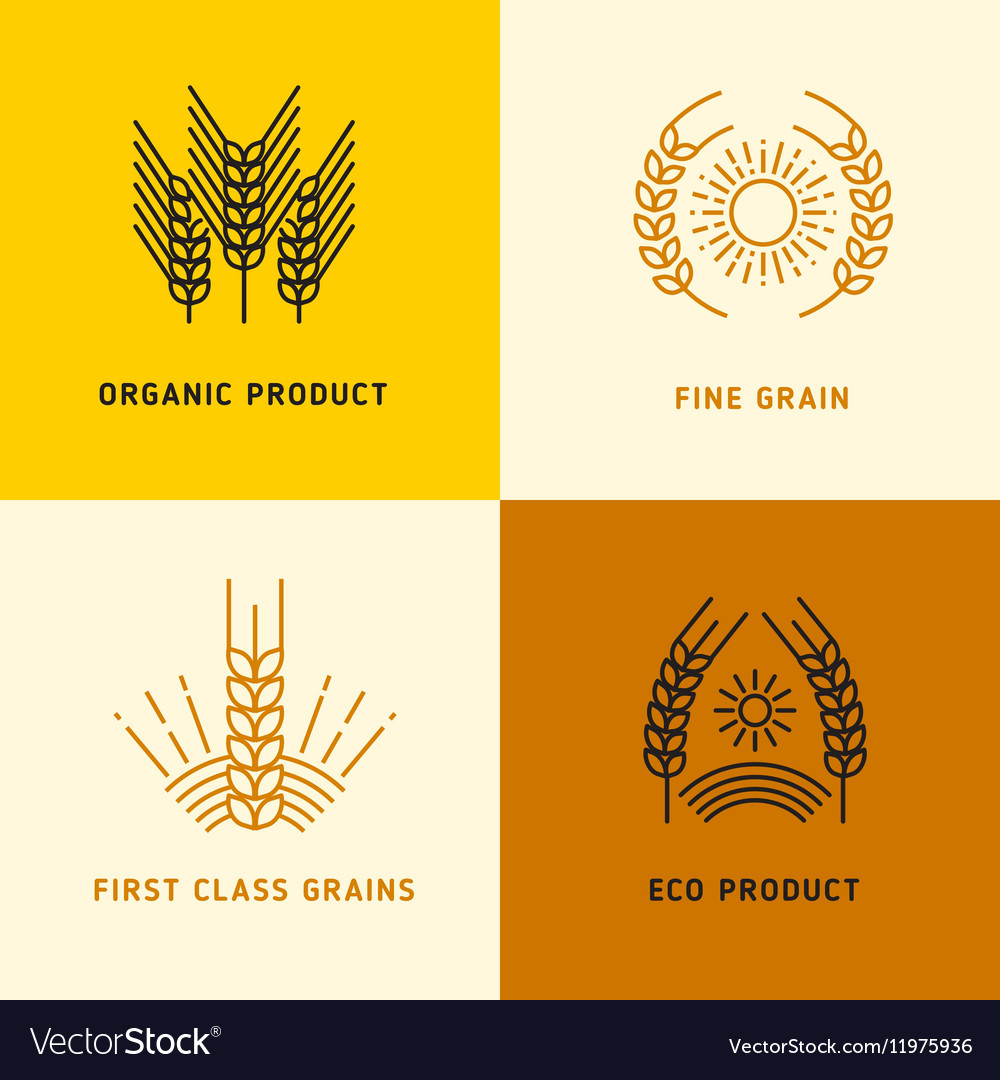 Harvesting logos with wheat grains