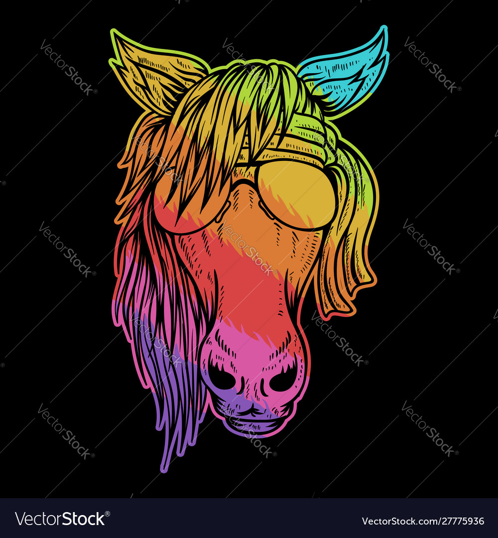Horse head colorful