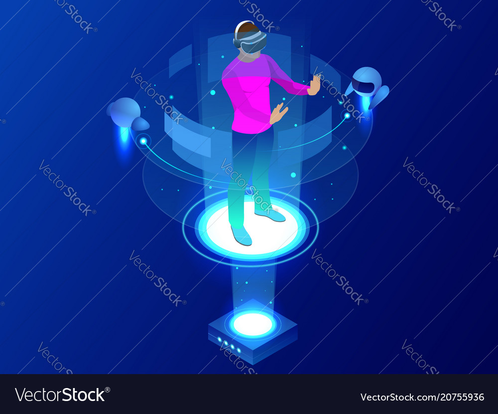 Isometric man wearing goggle headset with touching