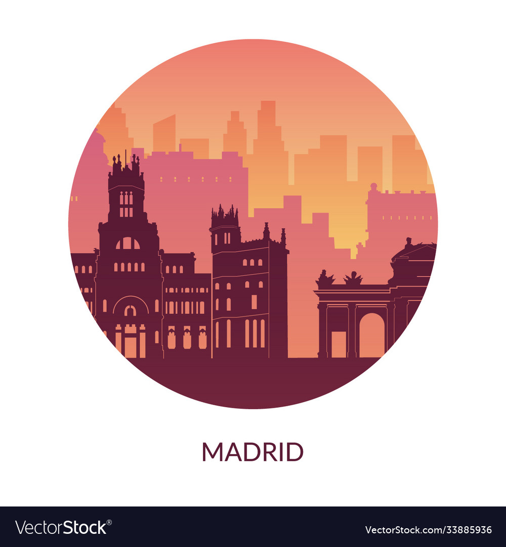 Madrid Spain Famous City Scape View Background Vector Image