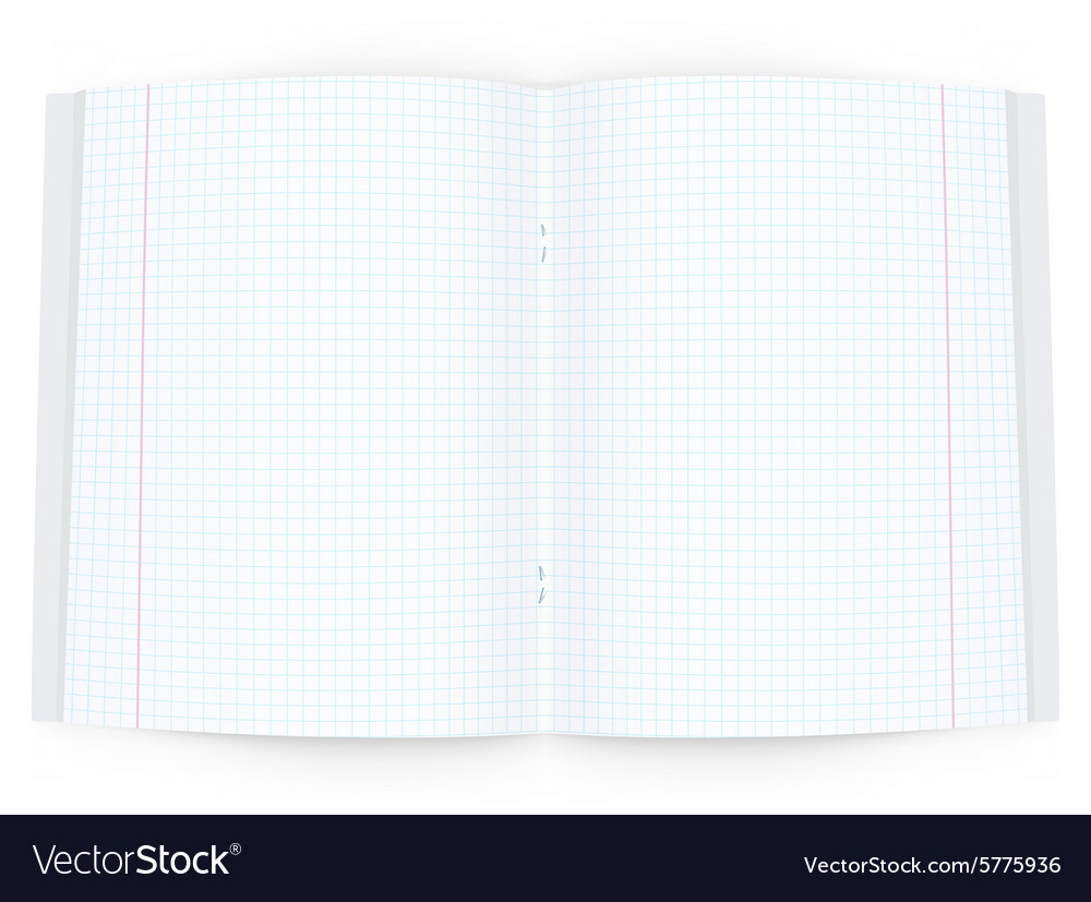 Open copy book on white background