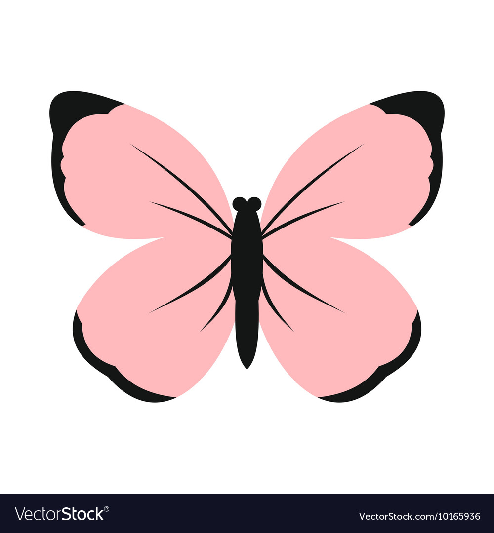 Pink Butterfly Icon Flat Style Royalty Free Vector Image