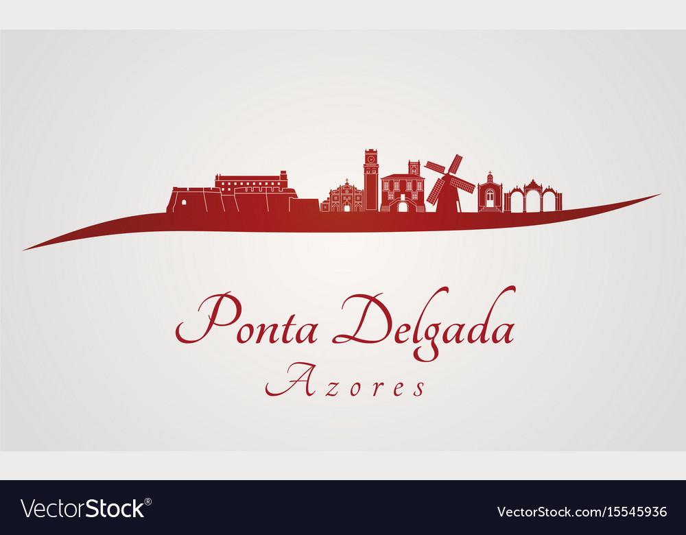 Ponta delgada skyline in red vector image
