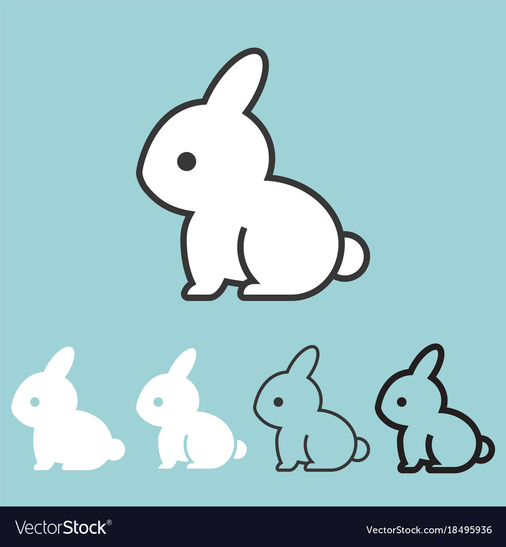 Rabbit icon outline and silhouette design