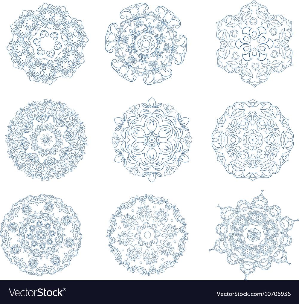 Set of abstract circular ornaments