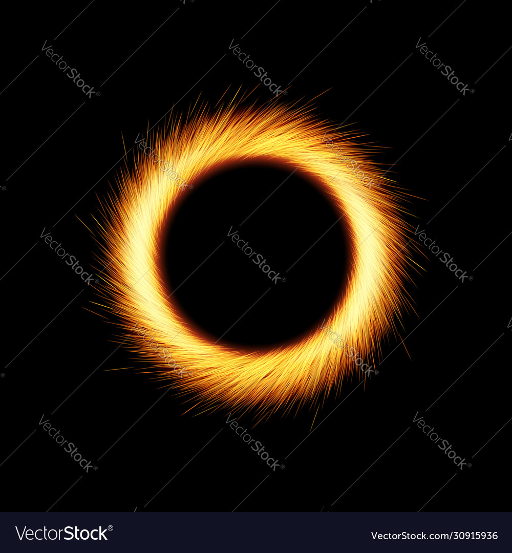 Shining circle with orange sparkles and glowing