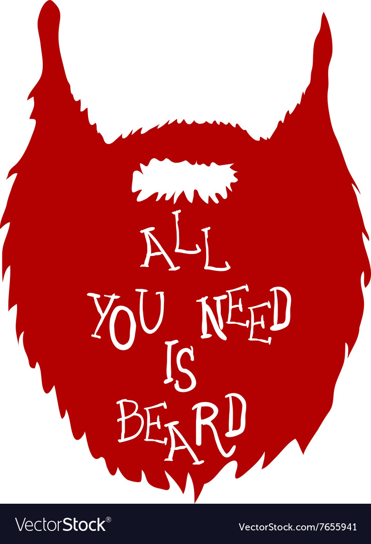 Beard with Text isolated on white background