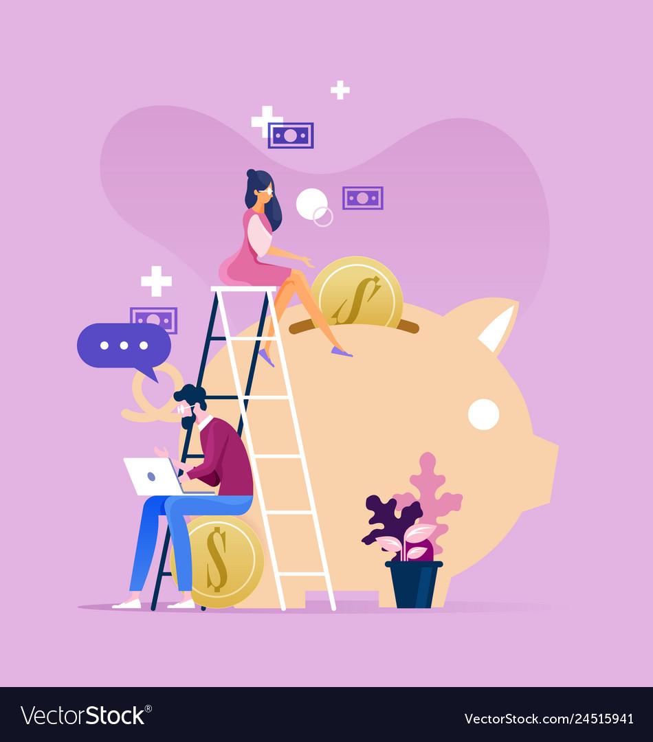 Businessman and woman working near piggy