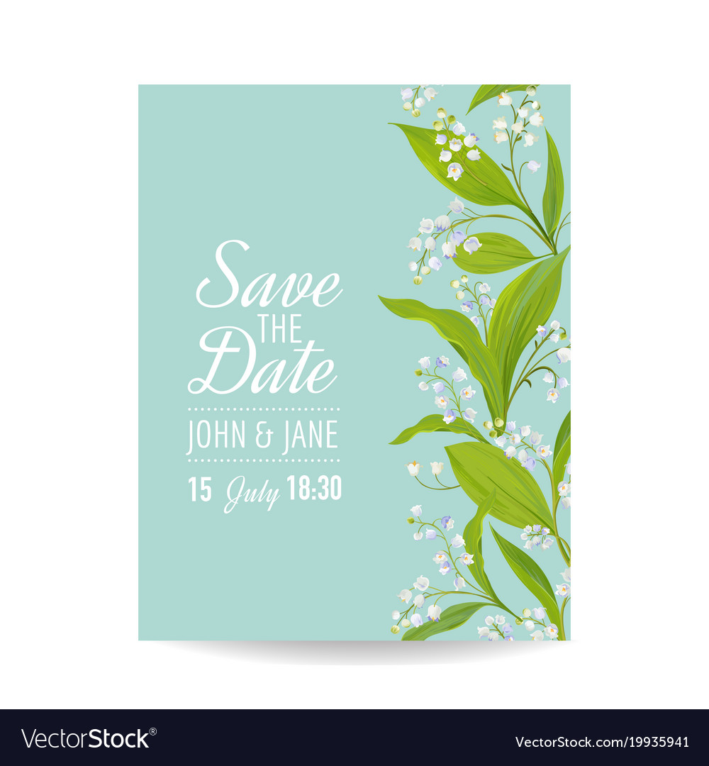 Floral wedding invitation template lily flowers
