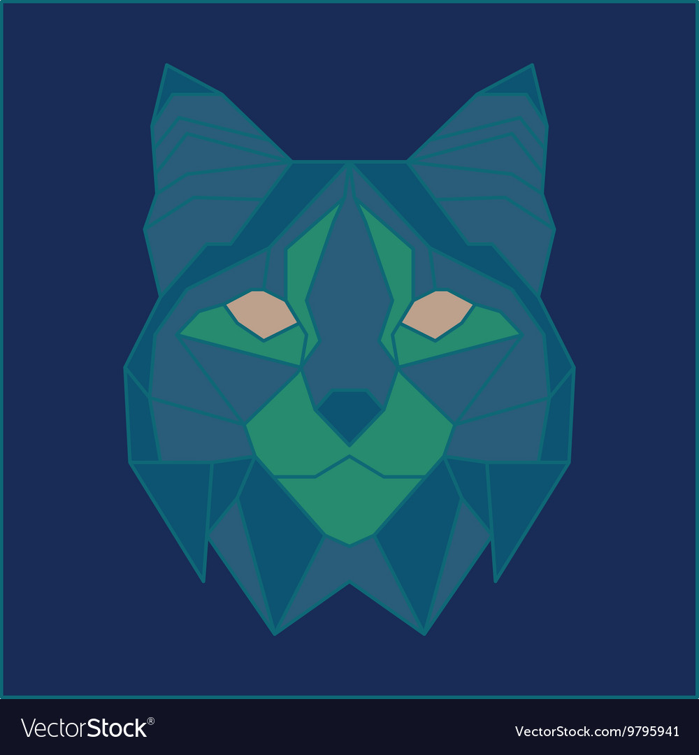 Green and blue low poly bobcat