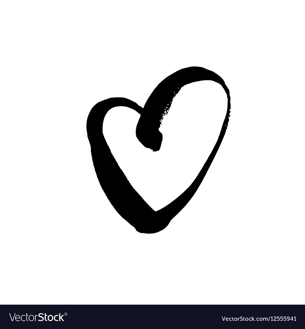 Grunge Black Heart Symbol Royalty Free Vector Image