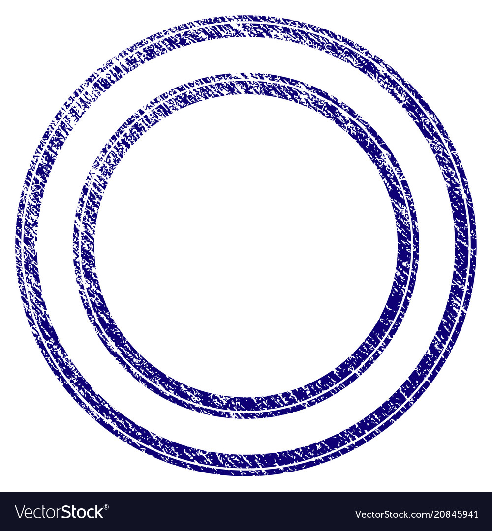 Grunge textured double circle frame Royalty Free Vector