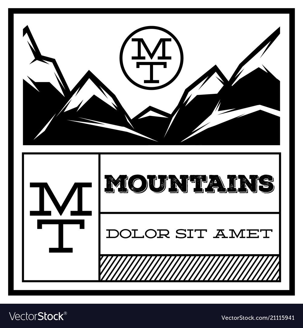 Mountain vintage logo template emblem badge for