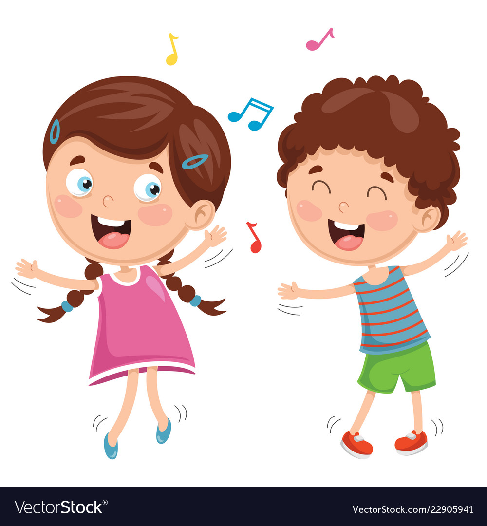 Of Kids Dancing Royalty Free Vector Image Vectorstock