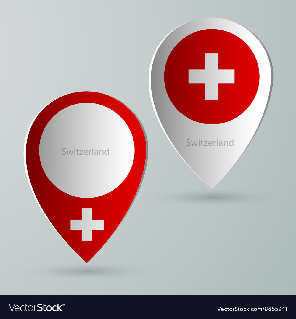 Paper of map marker for maps switzerland