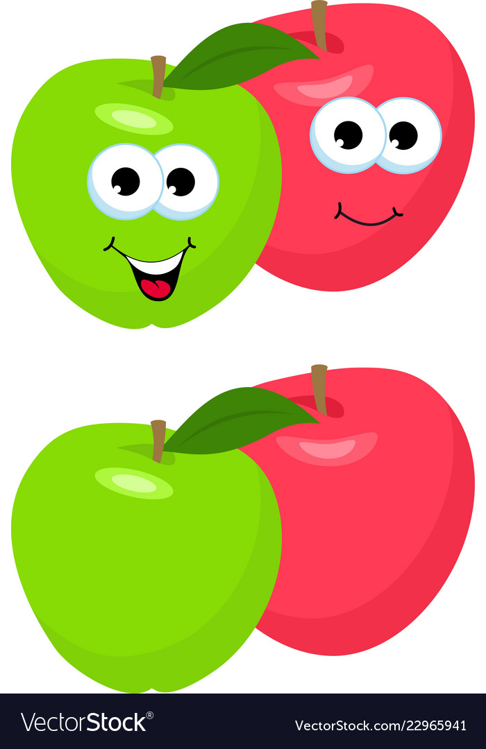 Set of apples with leaf cute and funny red and