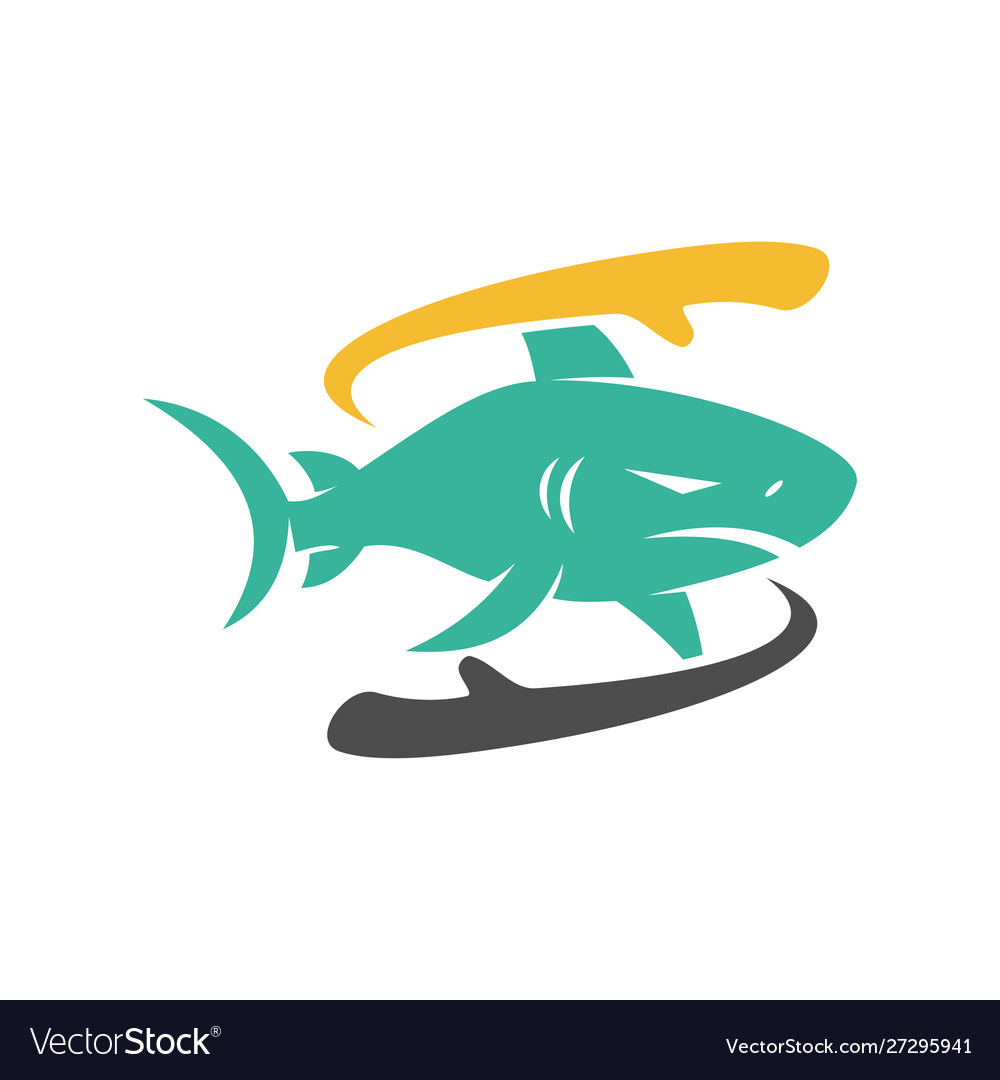 Shark hand rotation logo design isolated concept