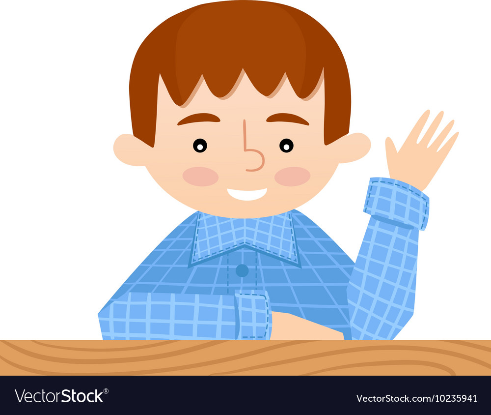 Student sitting at her desk raises hand vector image