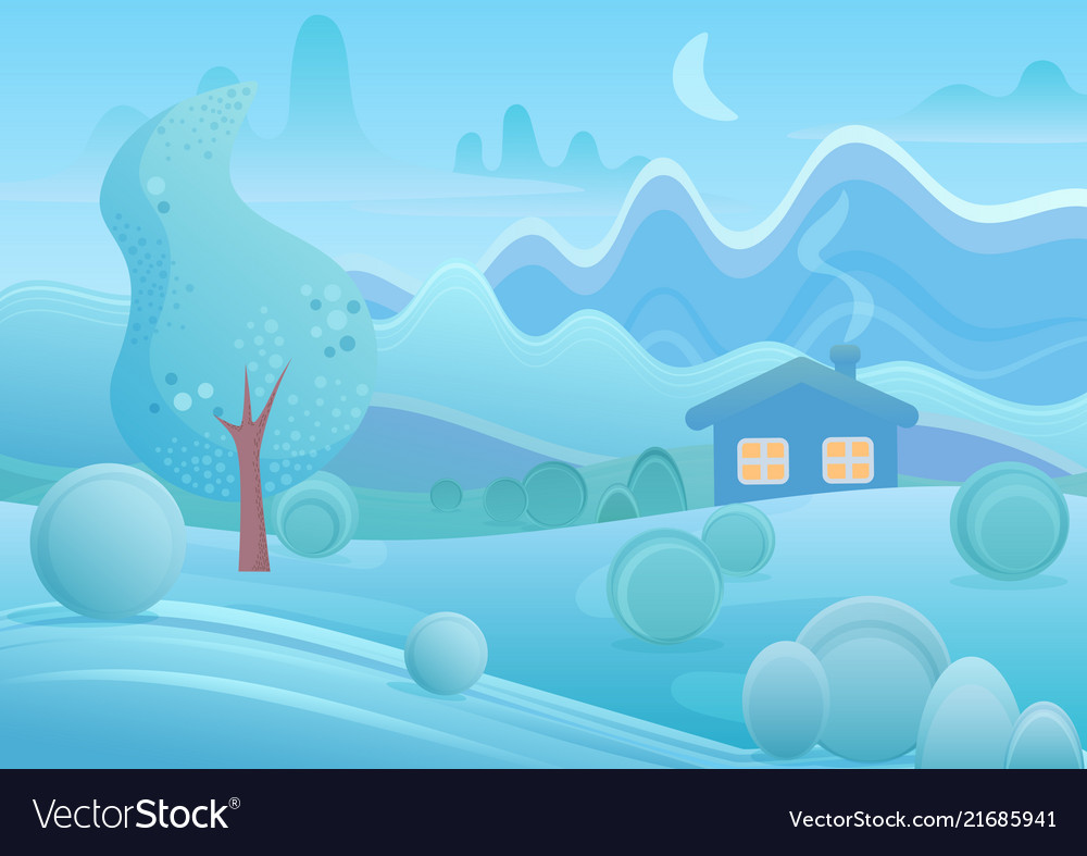 Winter cartoon house with smoke from chimney in