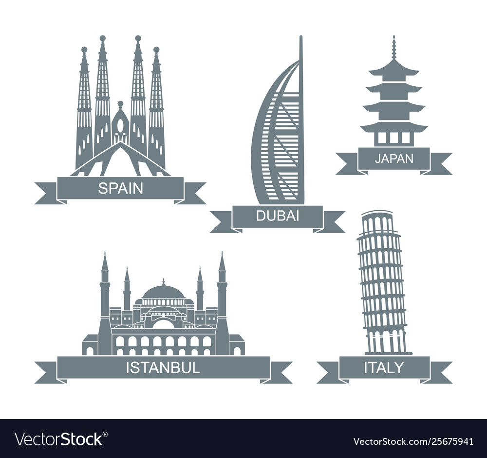 World architectural attractions stylized flat
