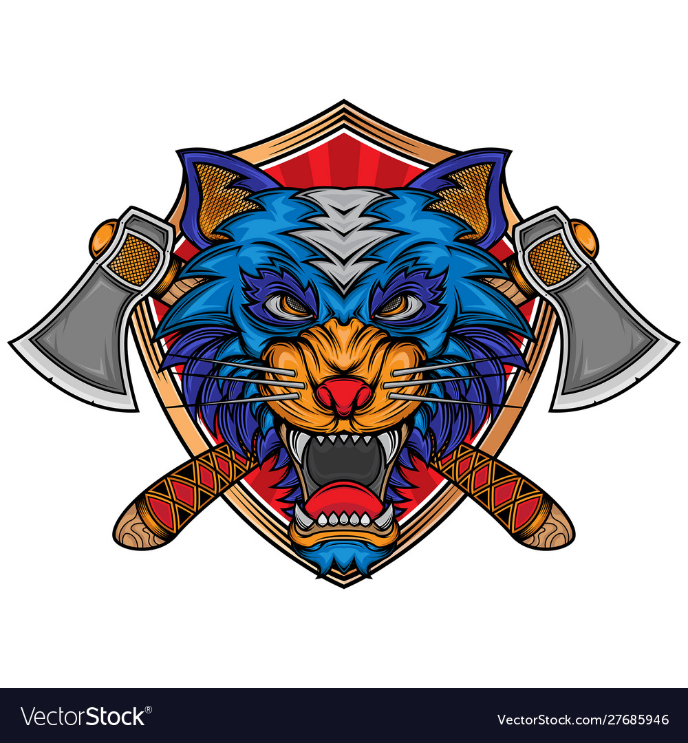 Angry wolf axe logo