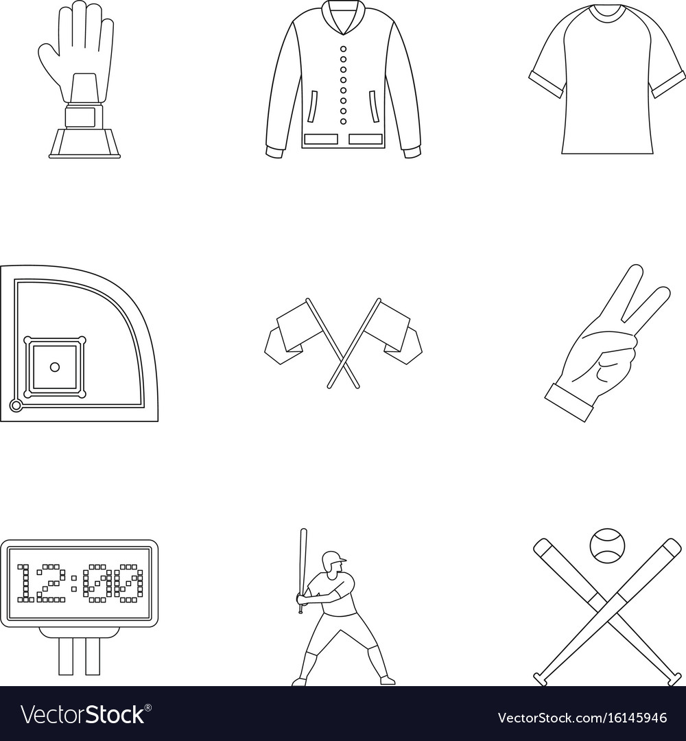Baseball tournament icons set outline style vector image