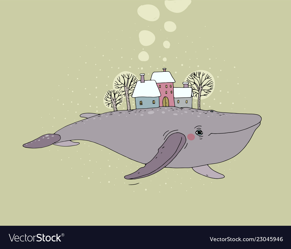 Beautiful cartoon whale and winter landscape new