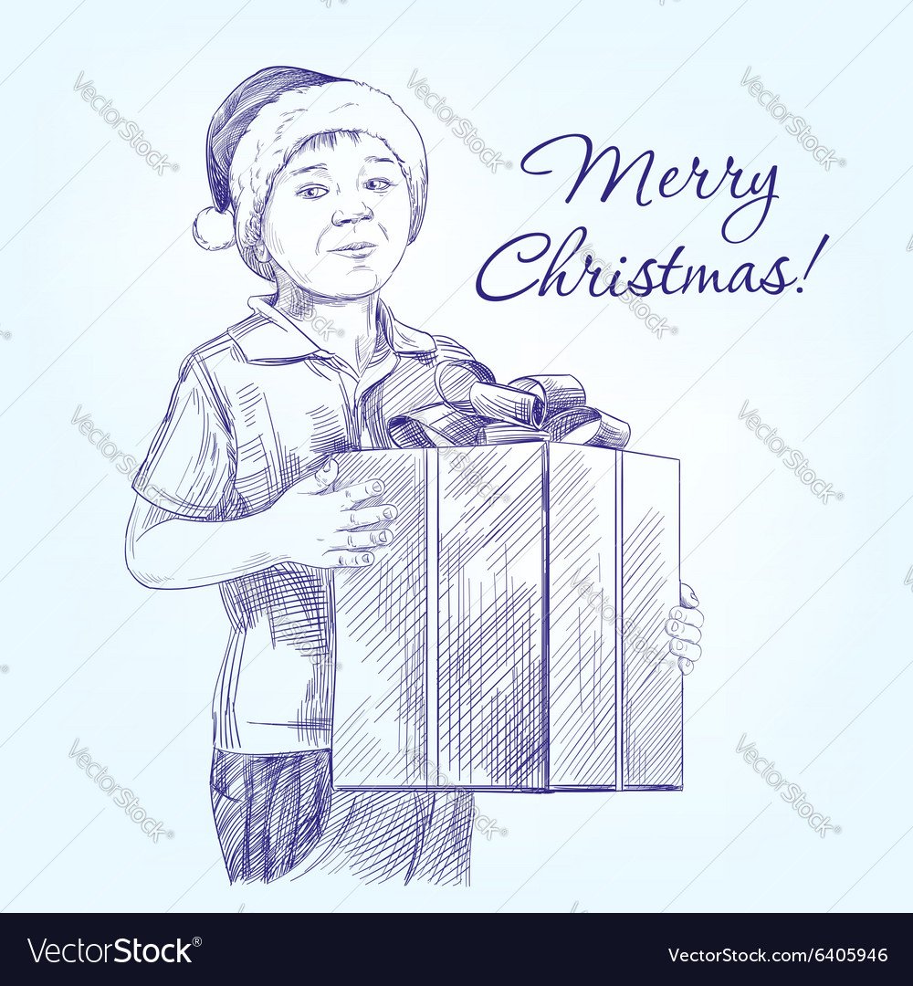 Boy in Santa hat holding Christmas present hand