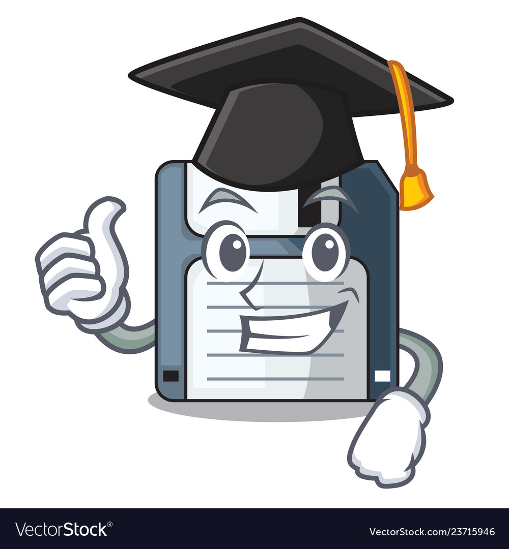 Graduation floppy disk isolated with a mascot