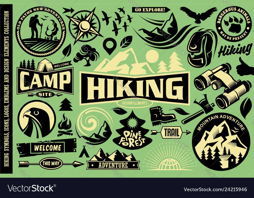 Hiking design elements set