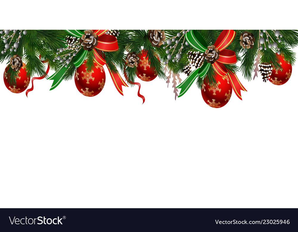 Christmas Tree Garland.Horizontal Banner With Christmas Tree Garland
