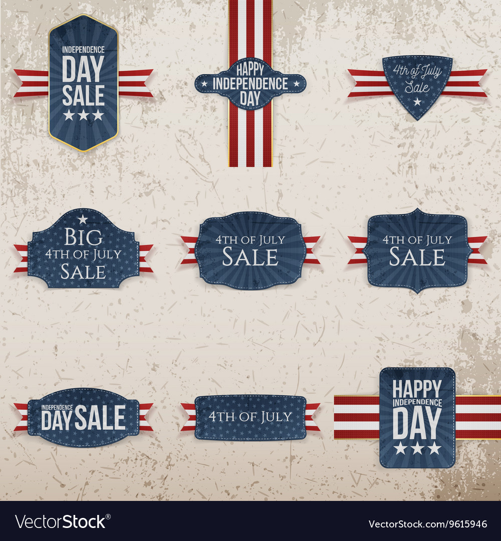 Independence Day realistic Labels Set