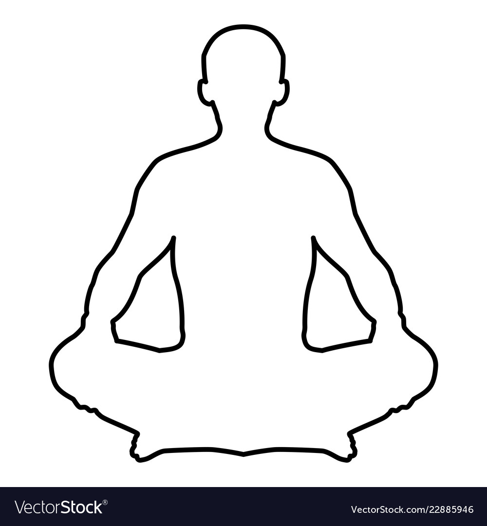 Man In Pose Lotus Yoga Pose Meditation Position Vector Image
