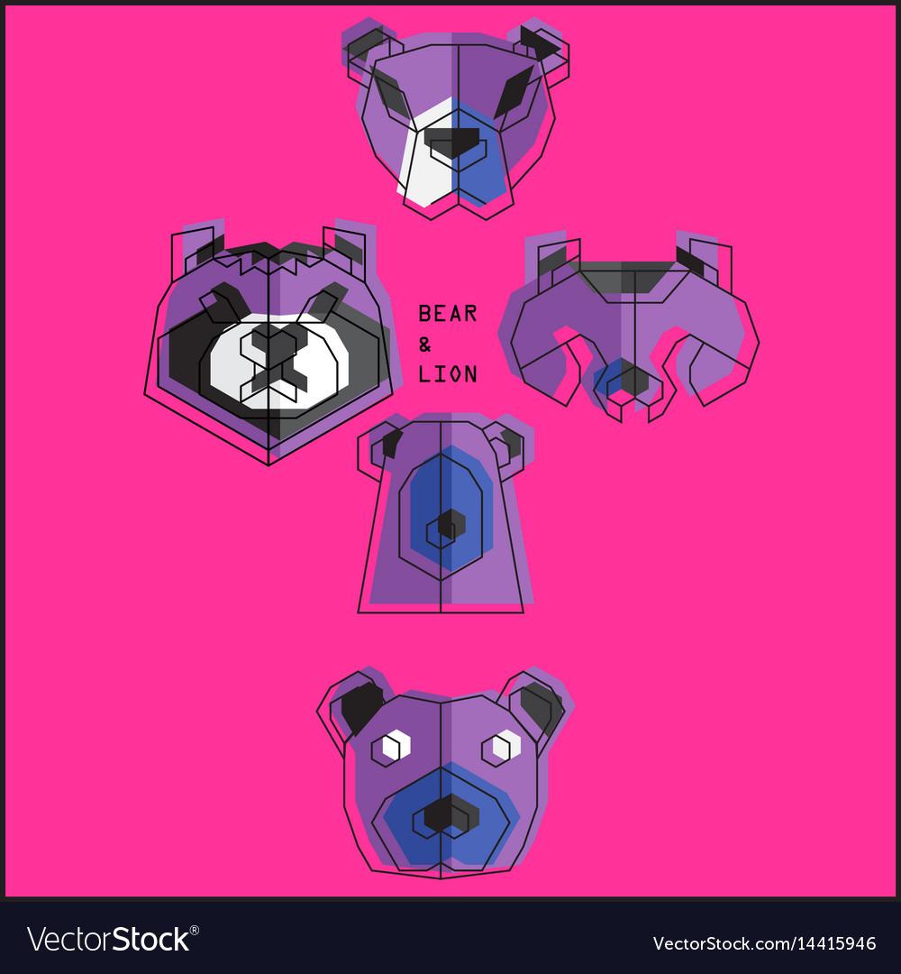 Origami bear set vector image