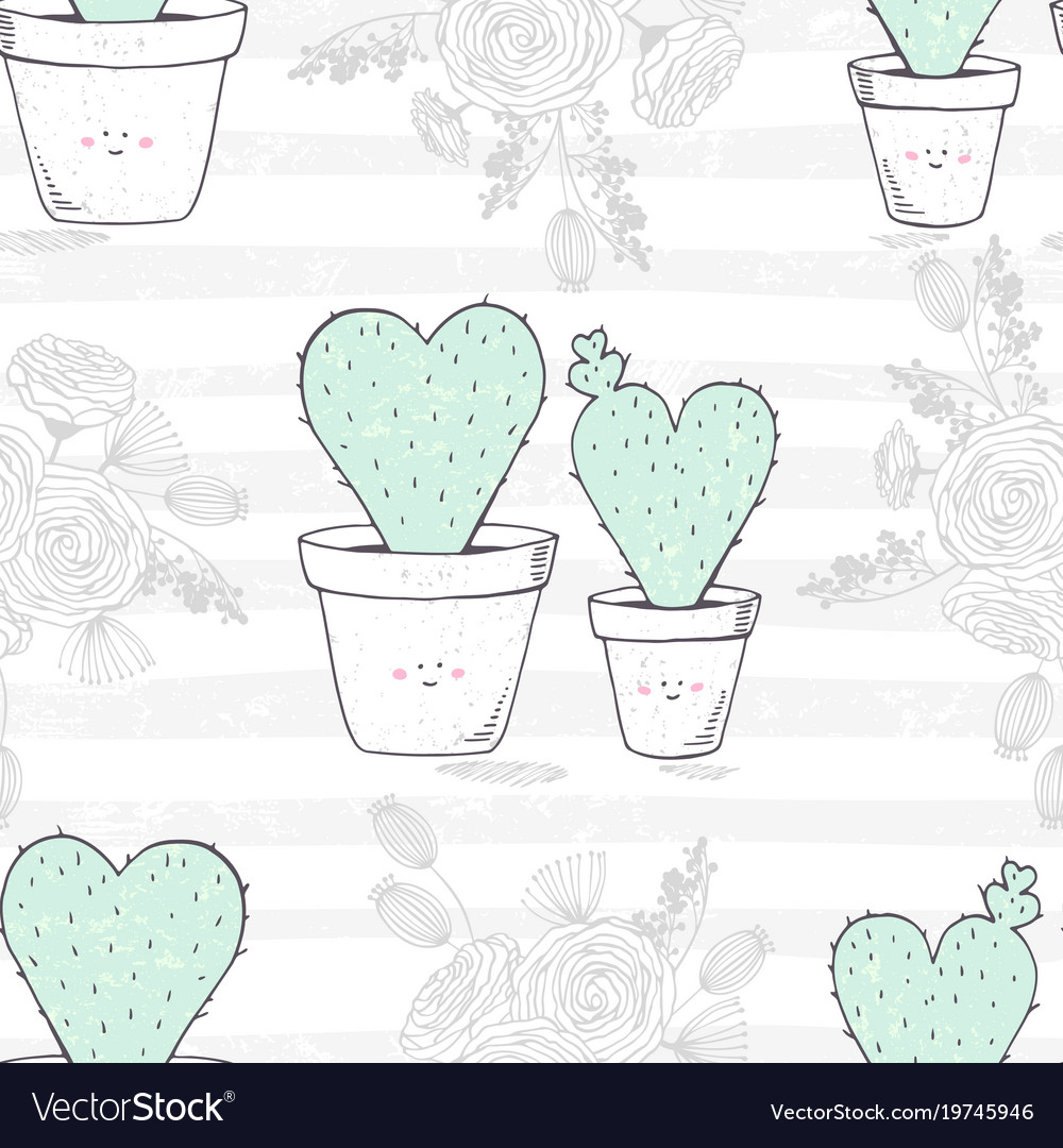 Seamless pattern with hand drawn heart shaped
