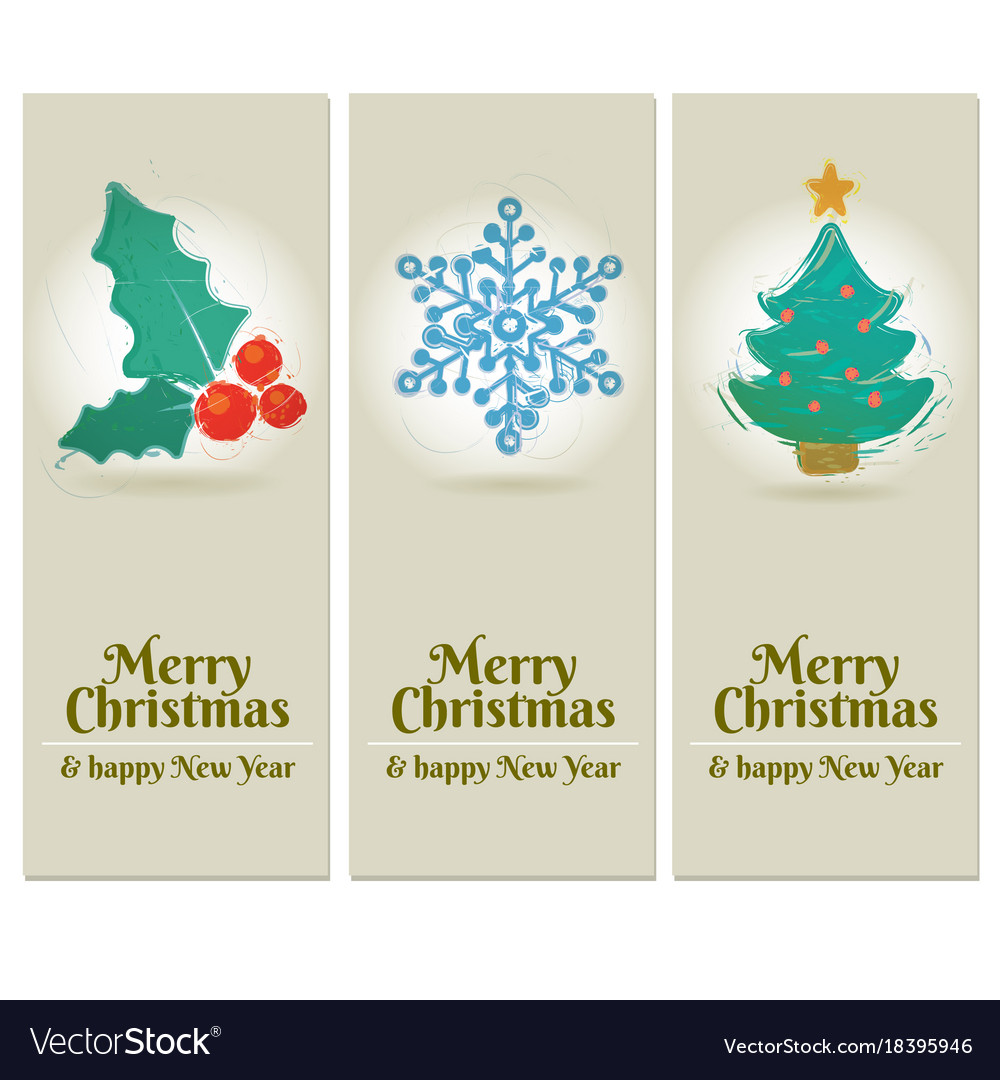 Set of 3 merry christmas and happy new year