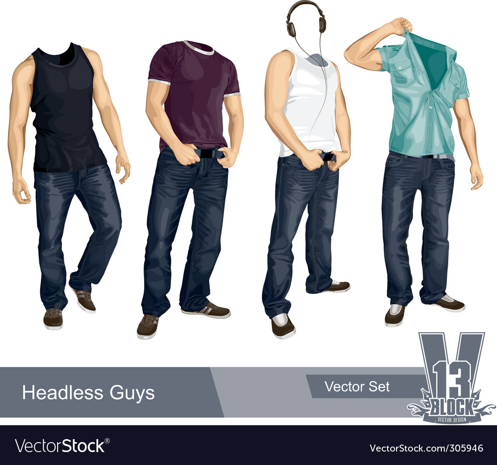 Set of headless guys isolated