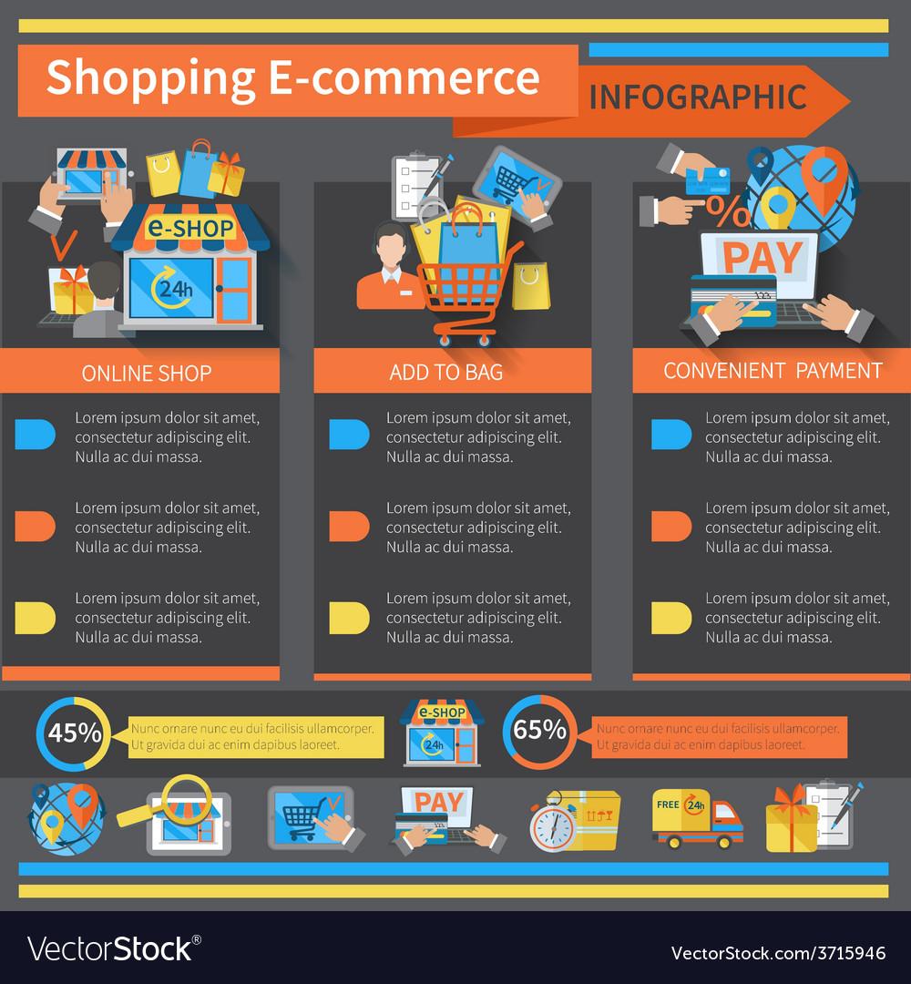 Shopping E-commerce Infographics vector image