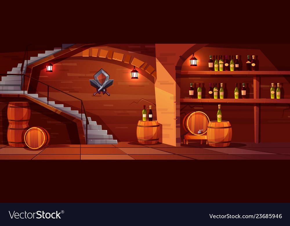 Wine cellar with wooden barrels bottles