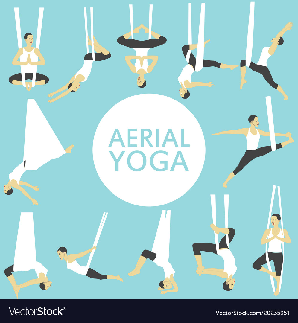 Aerial yoga set with young woman Royalty Free Vector Image