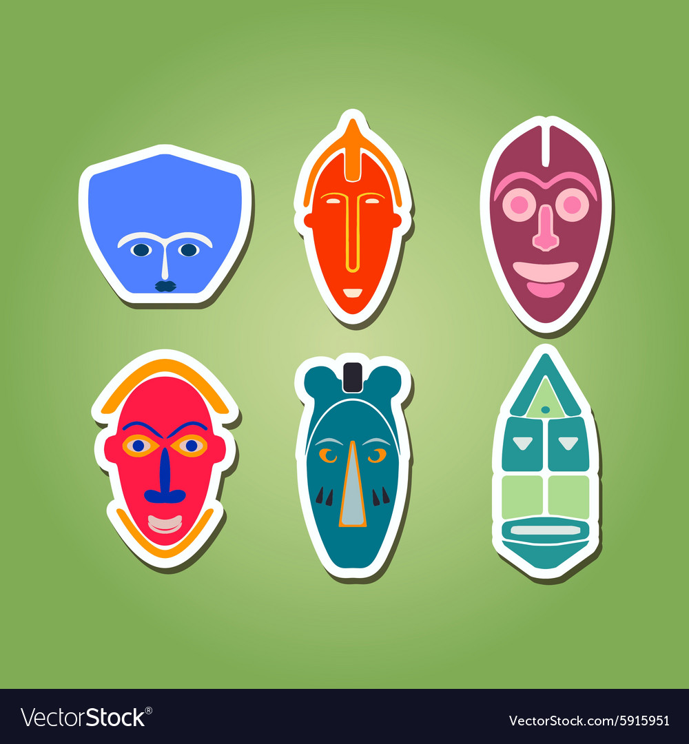 Color icon set with african ritual masks vector image