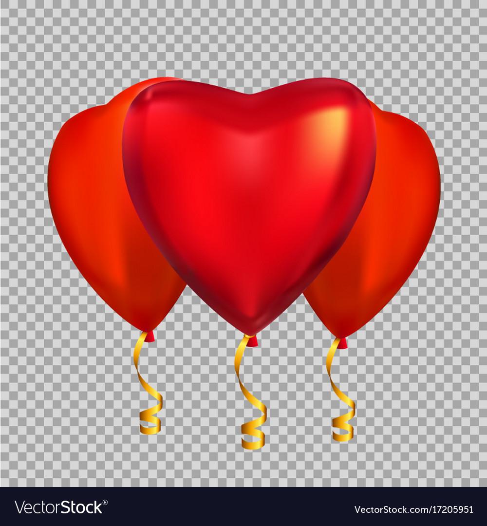 Colour glossy heart shape helium balloons isolate