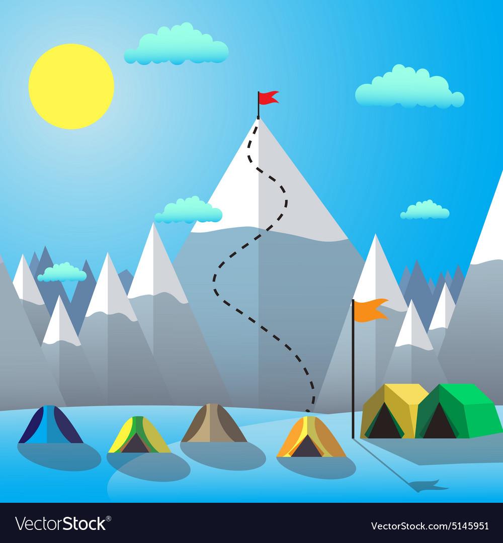 Flag On The Mountain Peak Goal Achievement Flat