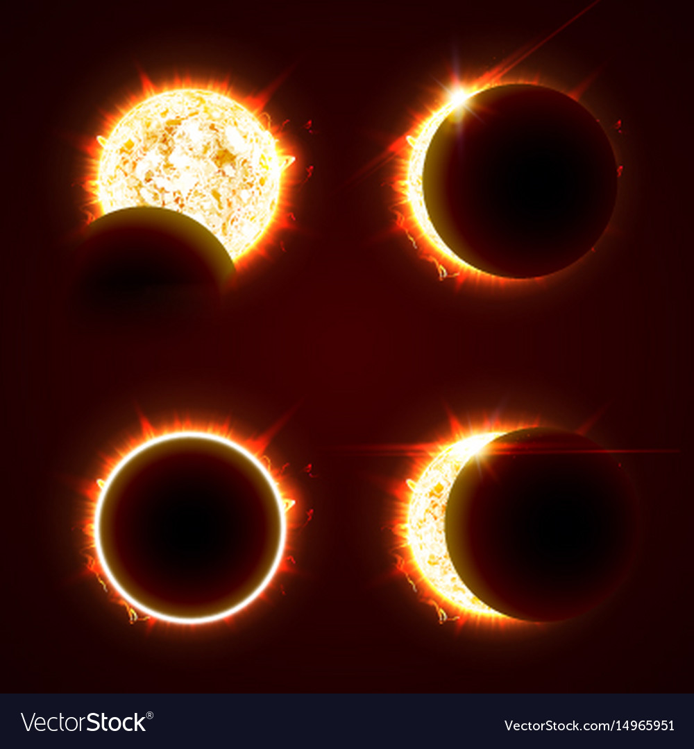 Incomplete and total solar eclipseon on a black