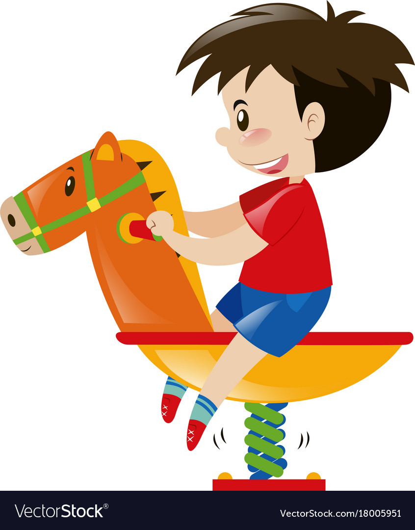 Little Boy On Rocking Horse Royalty Free Vector Image