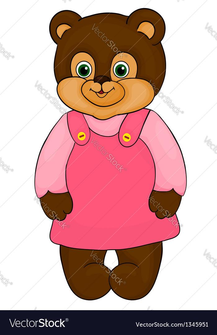 Little girl bear cartoon isolated on white