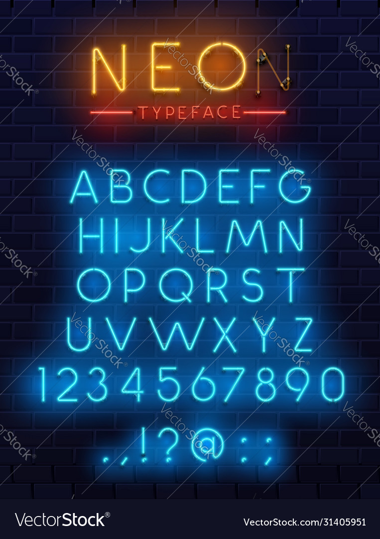 Neon type font glowing alphabet letters