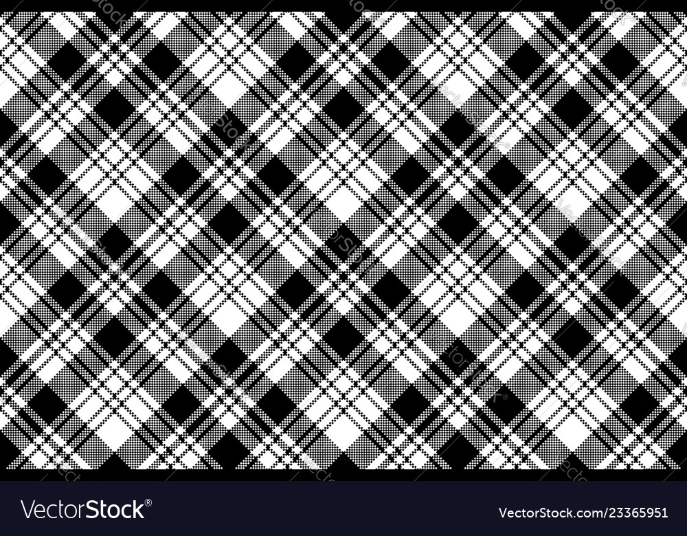 Pixel Black White Plaid Seamless Pattern Vector Image