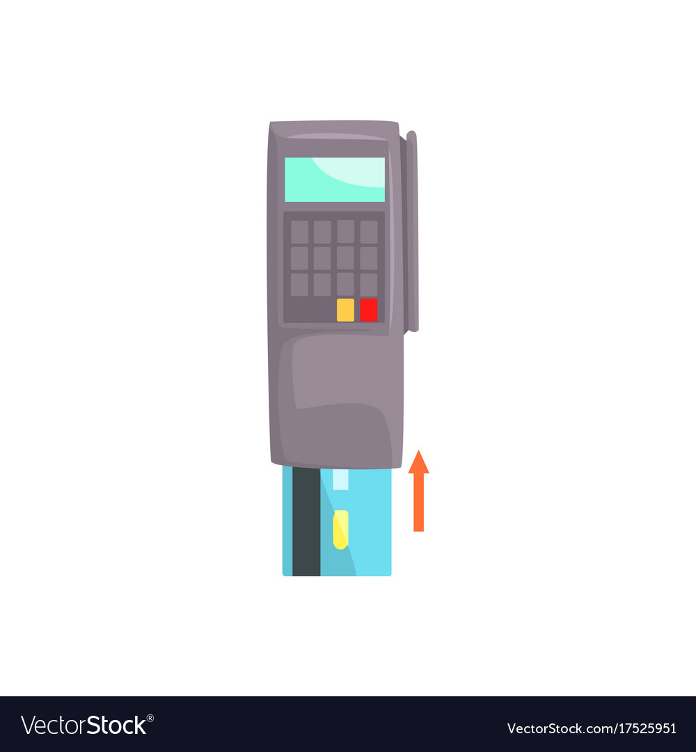Pos terminal with inserted credit card online