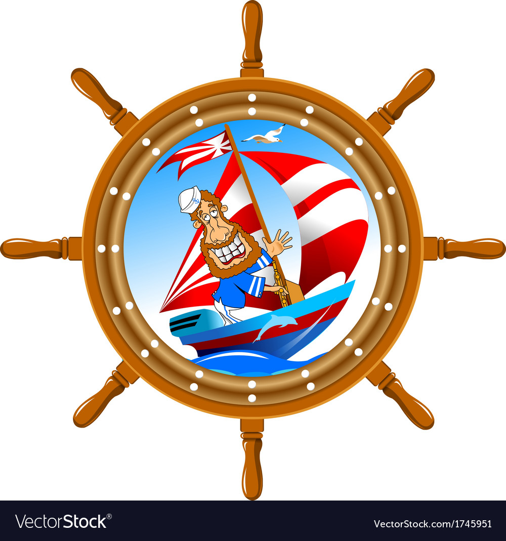 Sailor and the wheel vector image